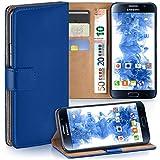 moex Samsung Galaxy S6 | Hülle Blau mit Karten-Fach 360° Book Klapp-Hülle Handytasche Kunst-Leder Handyhülle für Samsung Galaxy S6 Case Flip Cover Schutzhülle Tasche