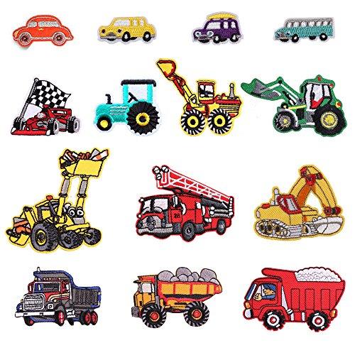 Toppe termoadesive o da cucire a forma di autobus, auto sportiva, auto, camion dei pompieri, per bambini, adatte a fai da te, jeans, abbigliamento, giacche, zaini, sciarpe, confezione da 14 pezzi