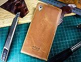 Original Akira Handmade PREMIUM Echtleder Flip Case für Sony Xperia Z5 Braun