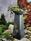 Unbekannt Pflanzsäule mit LED Beleuchtung Säule Pflanzschale Pusteblume Design Garten Deko