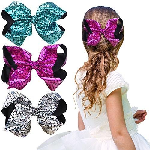 5cm Meerjungfrau Skala Muster Haarbögen Funkeln Chunky Haarschleife Haarspangen für Baby Mädchen (Meerjungfrau Stirnband)