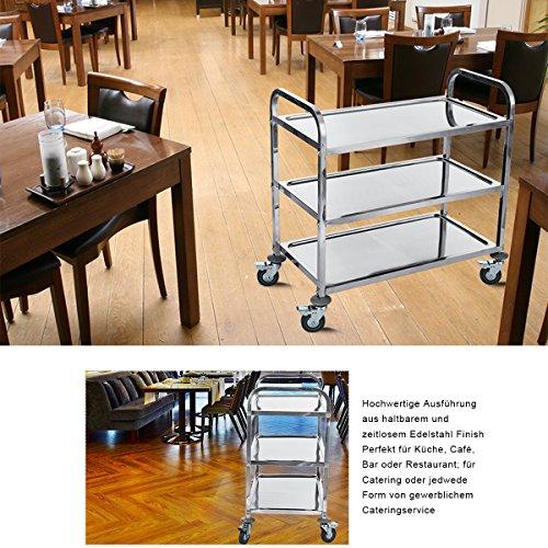 Küchentrolley Edelstahl ~ dxp edelstahl servierwagen küchenwagen 3 böden leichtlaufräder mit bremse 95 x 50 x 95 cm ykf l3