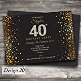 50 Personalised Birthday Invitations / Party Invites Choose from 39 stunning designs • 18th 21st 30th 40th 50th - any age. Customise all wording and colours. Free envelopes and Free delivery (Design 20)