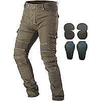 Pantaloni da moto, per uomo, Jeans in denim per motociclismo con armatura e 4 ginocchiere