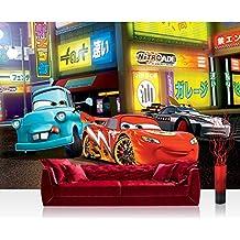Papel Pintado Fotográfico Premium Plus fotográfico pintado–cuadro de pared–Papel pintado Disney Cars Niños Dibujos animados Lightning Mcqueen Mater coches Coches de carreras Multicolor–No. 2858, carbón, Fototapete 368x254cm   PREMIUM Blue Back