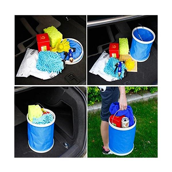 Cubo plegable Cubeta de agua portátil Multiuso - Apto para acampar, Deportes al aire libre, Uso doméstico, Cubo de agua para lavado de autos Capacidad de 11L - Ligero y fácil de transportar 4