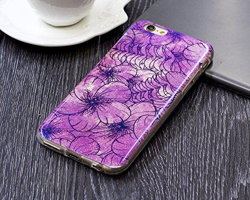 iPhone 6 Plus Coque Transparent Tpu,iPhone 6S Plus Étui en Silicone Mince avec Motif,JAWSEU [Double Face]Luxe Coloré Placage Cristal Clair Souple Gel Housse Etui de Protection,Bling Sparkle Case CLear Rose/fleur10