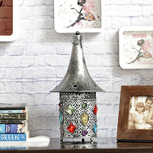 Aapno Rajasthan Hat Shaped Gun Metal Tea Light Holder With Colored Glass & Free Tealight For Diwali
