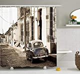 tgyew Old Car Decorations Shower Curtain Set, an Old American Car in The Colonial Streets of Trinidad in Cuba Historical Picture, Bathroom Accessories, 60W X 72L Inche Extralong, Beige