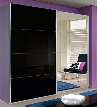 Schwebetürenschrank schwarz  rauch Schwebetürenschrank mit Spiegel alufarben/schwarz, B/H/T CA ...