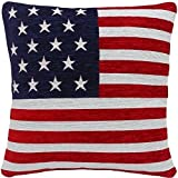 Kissenbezug 4er Packung 'Stars & Stripes' Amerikanische Flagge Chenille Rot Weiß Blau 45cm
