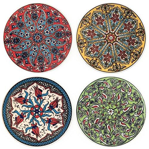 Set aus 4bunten Keramik-Trink-Untersetzern- verschiedeneMotive -