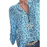 VJGOAL Damen T-Shirt, Damen Mode Kurzarm V-Ausschnitt Spitze Gedruckte Spitze Tops Sommer Lose T-Shirt Bluse (2XL/44, Y-Knopf-Hellblau)