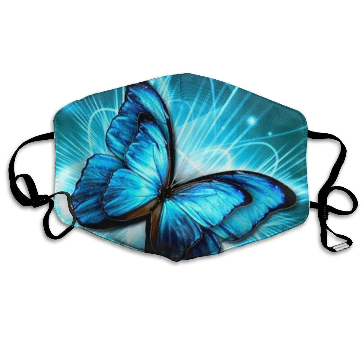 Bdwuhs Mascarillas Bucales,Boca Máscara Dust Mask for Women and Men Blue Butterfly Printed Foldable Mask Face Mask Anti-Dust Mouth Mask