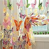 GUOCAIRONG® Tulle Vorhänge Hot Butterfly Sheer Vorhang Organza Kind Fenster Balkon Tüll Vorhänge für Wohnzimmer Home Decor Vorhang 200cm x 100cm 1 Stück