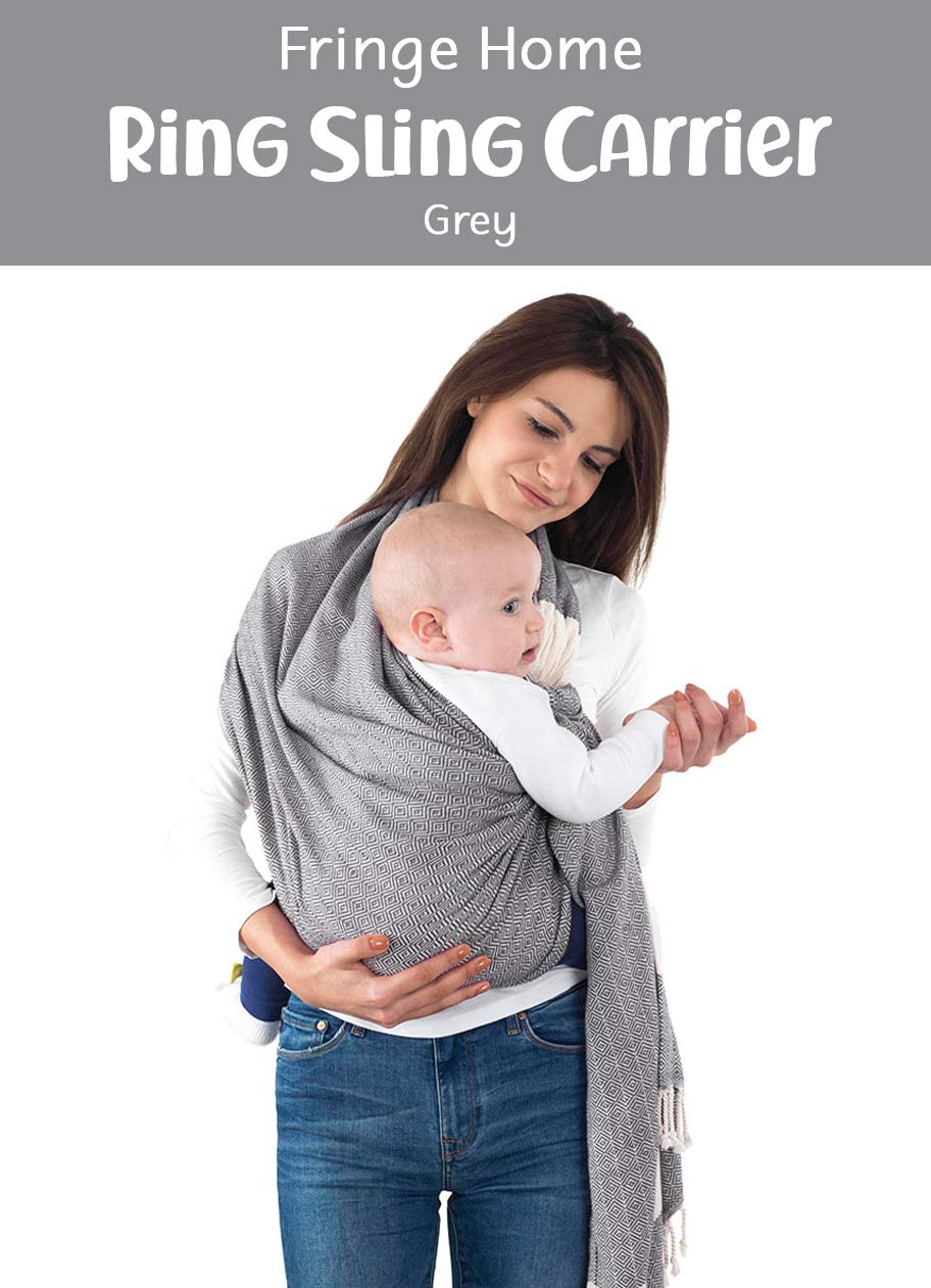 Handwoven Baby Ring Sling Carrier - 100% Natural Cotton, Extra Soft, Eco-Friendly, Sling Wrap Carrier - Lightweight Sling for Newborn, Infant, Toddler, Best Baby Shower Gift, Nursing Cover (Grey) Fringe Home SIZE: 86 x 203cm. Standart size fits for every size mother and father. SAFETY CERTIFICATIONS: Our Ring Slings are compliant with Consumer Product Safety Improvement Act (CPSIA) and American Society for Testing and Materials (ASTM). BONDING & COMFORTABLE SLING: Creates a natural heartfelt bond between you and your little one. Comfortable posture position makes your little one easier to go sleep. Adjustable Ring Sling fits for every size mother and father. Elastic band sewn on shoulder and bottom end to ensure holding baby safer. 4