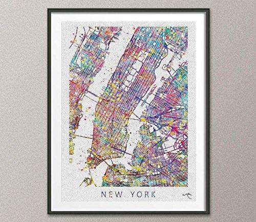 COCOMILLA New York City Map Vereinigten Staaten Watercolor Illustrationen Kunstdruck Wand Hochzeit Geschenk Wall Decor Art Home Decor zum Aufhängen [keine 578], Mittel, 16.55 x 23.44 (Vereinigte Staaten-map-kunst)