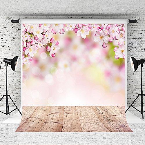KateHome PHOTOSTUDIOS Mikrofaser zusammenklappbar rosa Blumen Fotografie Hintergrund 5 x 7 ft braun Holzboden Hintergrund Fotografen Studio Kulissen (Hintergrund Zusammenklappbar 5x7)