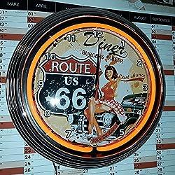 Neon reloj Neon Clock–Pinup Ruta 66Diner Reloj de pared iluminado Neon Naranja–Disponible también con otros colores Neon de ver imágenes.