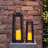 Set of Two Black Metal Solar LED Garden Candle Lanterns by Lights4fun