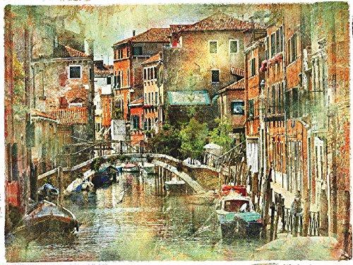 Artland Qualitätsbilder I Alu Dibond Bilder Alu Art 80 x 60 cm Städte Italien Venedig Malerei Bunt C8UX Beeindruckendes Venedig künstlerische Darstellung im Malstil
