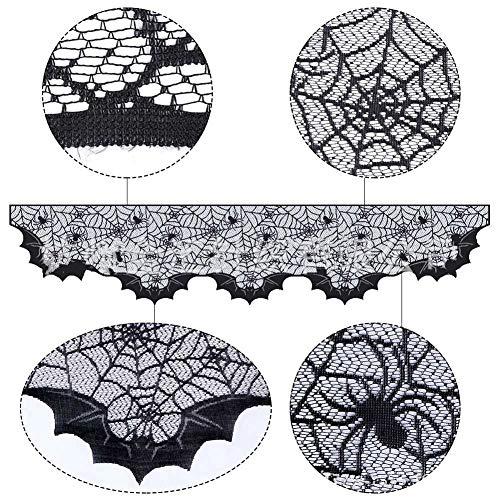 Qsoleil Schreckliche Geräte Schwarzer Spitze Kamin Tuch Lampenschirm Ghost Festival Bat Spinne Herd Dekor Tuch Halloween Dekor