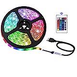Bande LED USB avec télécommande, 5050 RGB, 5 V, sûre et tactile, DIY intérieur/extérieur (2 m)