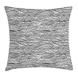 Wood Print Throw Pillow Cushion Cover, Monochrome Timber Surface Design with Abstract Bullseye Pattern Oval Shapes, Decorative Square Accent Pillow Case, 18 X 18 inches, Black and White