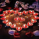 Ailiebhaus 50 Teelicht Set romantische Liebe Herz Form Pudding Rauchfreie Duft Kerzen Schwimmkerzen Rot - 2