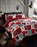 Bettwäsche-Set, Steppbettwäsche, Motiv: Schneeflocken/Hirsche/Herzen, Patchwork-Design, Rot/Grau, rot, Einzelbett