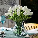 Turelifes, tulipani artificiali a stelo singolo, sembrano veri al tatto, in poliuretano, bouquet di tulipani per la decorazione della casa, 10 pezzi wihte