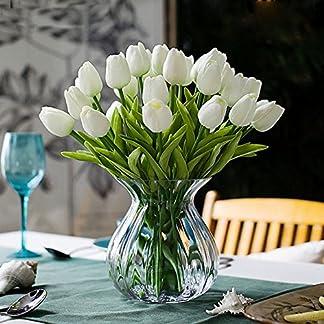 Tulipanes artificiales Turelifes en tallos individuales, poliuretano que parece real al tacto, para arreglos florales y decoración, 10 piezas