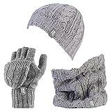 Heat Holders - Damen-Thermo-Fleece Kabel Wollmütze, Nackenwärmer und Converter Handschuhe Satz (hellgrau)