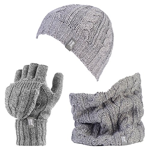 HEAT HOLDERS Damen Handschuh-Set Mehrfarbig mehrfarbig One size Gr. One size, Hellgrau (Light Grey Marl) -