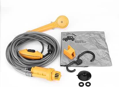 Qiilu 12V 3A 35W Doccia auto Kit di Lavaggio Elettrico Portatile dellAuto Kit Pompa dellAcqua per Campeggio Esterno della Roulotte Arancione