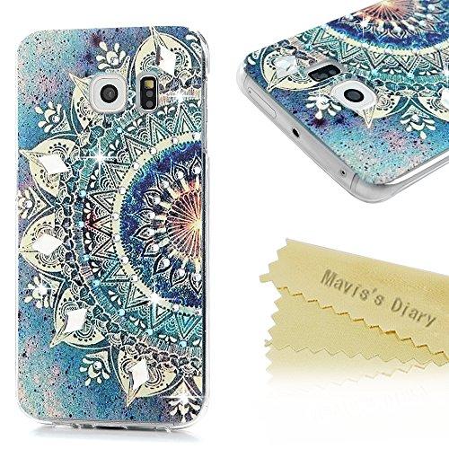 Mavis's Diary Case für Samsung Galaxy S6 Edge Tasche PC Hardcase Plastik Glanz Glitzer-Strass Case Schutzhülle Drucken Blumen mit Bling Strasstein Handmade Durchsichtig Bumper Handycover Handyhülle