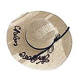 Cappello Inglese Lettere Ricamo Donna Estate Mare Cappello Sole Cappello Spiaggia (Colore : Beige)