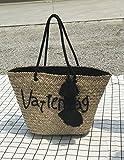 BAGEHUA den Brief Stickerei gewebt Strandtasche Stroh Beutel Pauschalreise Haar Ball Bag B