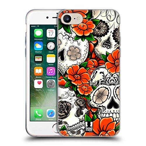 Head Case Designs Blu Teschi Floreali Cover Morbida In Gel Per Apple iPhone 7 / iPhone 8 Arancione