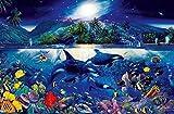Fototapete MAJESTIC KINGDOM 175x115cm Korallenriff Orcas Rochen Unterwasserwelt Fische Kinder