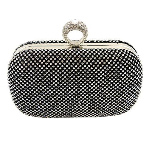 Yingzu , Damen Clutch silver, black, gold Small, - schwarz - Größe: Small (Satin Clutch Frame Handtasche)