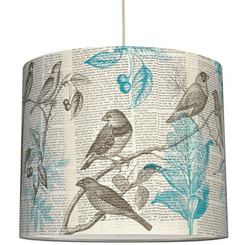 anna wand Lampenschirm Design VÖGEL & TYPO – Schirm für Lampen mit Natur-Motiv und Schrift – Sanftes Licht für Tischleuchte / Stehlampe / Hängelampe im Wohnzimmer, Esszimmer, Schlafzimmer