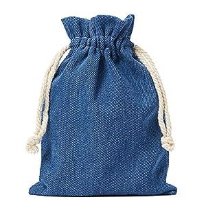 10 Jeans-Stoff-Baumwollbeutel, Baumwollsäckchen in Blau, mit Kordel zum Zuziehen,100% Baumwolle / Denim-Stoff (20x12cm)