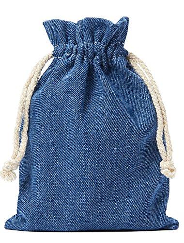 10 Stück Jeans-Stoff-Beutel, Baumwollbeutel, Baumwollsäckchen in Blau, Grösse: 20x12 cm (Höhe x Breite) mit Kordel zum Zuziehen,100% Baumwolle / Denim-Stoff
