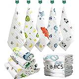 Caiery 10PCS Bébé en mousseline Gants de Toilette, Débarbouillettes pour bébés, Baby Wash Cloths, serviettes pour le visage d