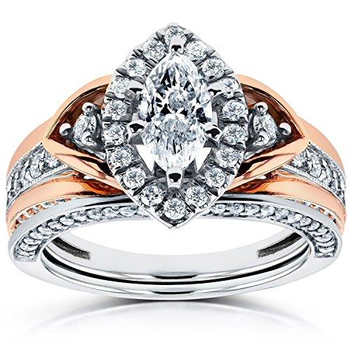 Anello taglio Marquise con diamanti da 1 1/6-in CTW 14 K Two-Tone Gold, Oro rosa-e-bianco, 24,5, cod. 62069M-ED_11.0