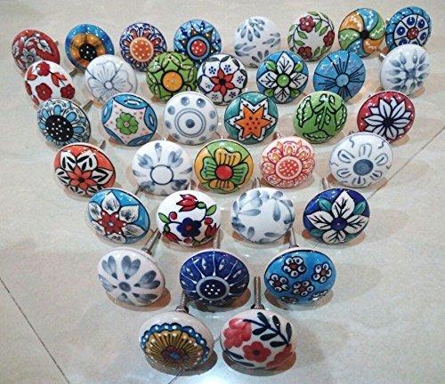 20 tiradores vintage de cerámica con distintos diseños de flores, id