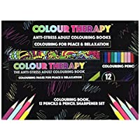 Deluxe Colour Therapy Anti-Stress Pattern Colouring Book, Pencils & Sharpener Set by Colour Therapy