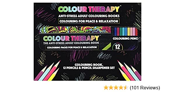Colour Therapy Anti Stress Colouring Sharpner Set With Pencils Amazoncouk 5055709861167 Books