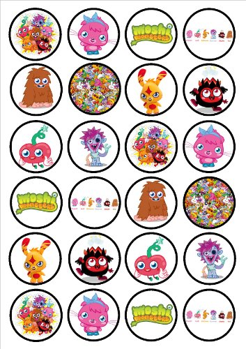 Image of Moshi Monsters Edible PREMIUM THICKNESS SWEETENED VANILLA,Wafer Rice Paper Cupcake Toppers/Decorations